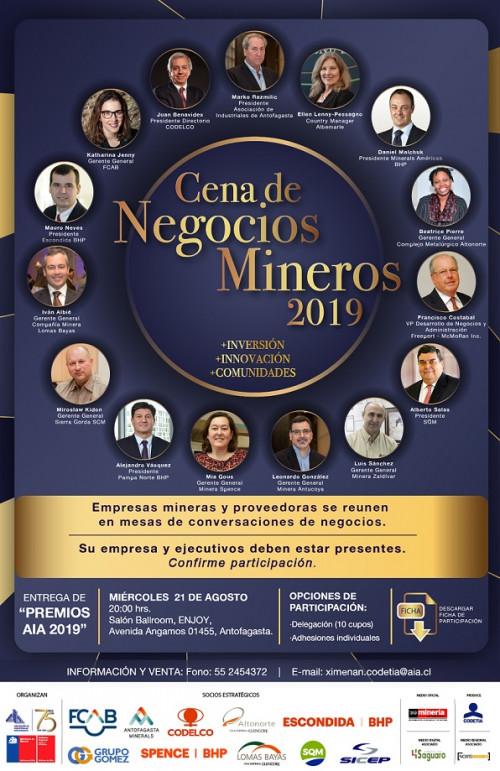 AIA apunta a fortalecer redes empresariales en próxima Cena de Negocios Mineros