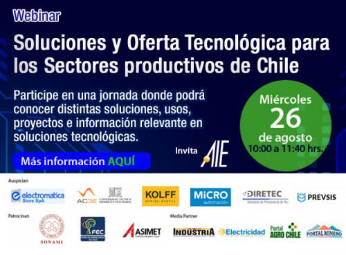 AIE invita al Primer Encuentro del Ciclo de su Webinars: Soluciones y Oferta Tecnológica para los Sectores productivos de Chile