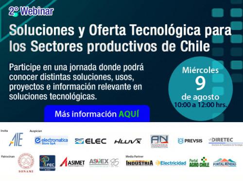 AIE invita al 2° Webinar Socios AIE: Soluciones y Oferta Tecnológica para los Sectores productivos de Chile