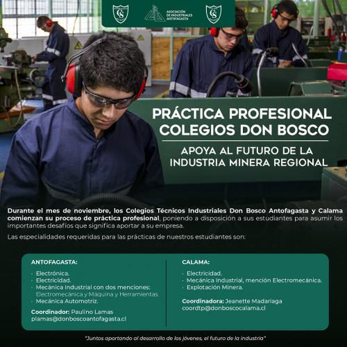 AIA llama a empresas a recibir práctica industrial de estudiantes formados en Colegios Don Bosco Antofagasta y Calama