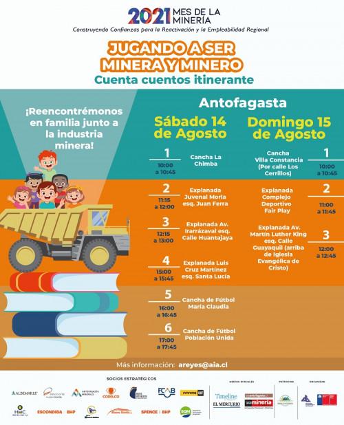 """Cuenta cuentos infantiles itinerantes recorrerán la región con """"Jugando a ser Minera y Minero"""" organizado por la AIA"""