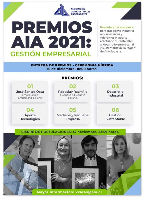 Premios AIA 2021: gremio invita a destacar trayectoria empresarial y ejecutiva al servicio del desarrollo regional