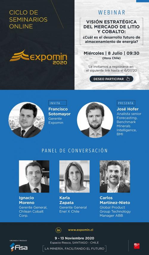 Ciclo de seminarios Expomin analizará el mercado del litio y cobalto