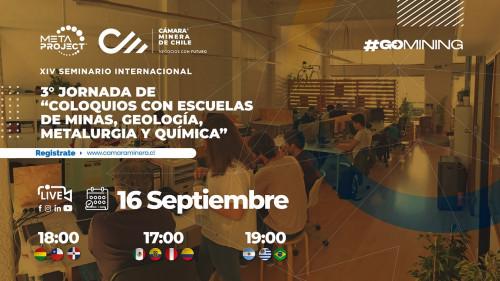 """Cámara Minera de Chile realizará 3° Jornada """"Coloquios de Escuelas de Minas, Geología, Metalurgia y Química"""""""