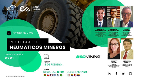 """Cámara Minera de Chile realizará webinar """"Reciclaje de Neumáticos Mineros"""""""